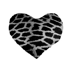 Black And White Giraffe Skin Pattern Standard 16  Premium Heart Shape Cushions