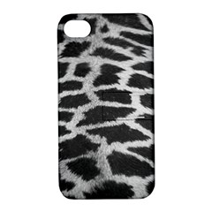 Black And White Giraffe Skin Pattern Apple iPhone 4/4S Hardshell Case with Stand