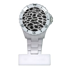 Black And White Giraffe Skin Pattern Plastic Nurses Watch
