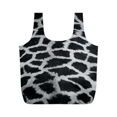 Black And White Giraffe Skin Pattern Full Print Recycle Bags (M)