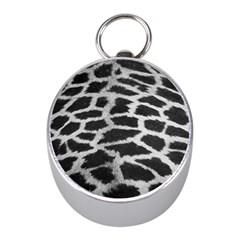 Black And White Giraffe Skin Pattern Mini Silver Compasses