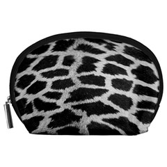 Black And White Giraffe Skin Pattern Accessory Pouches (Large)
