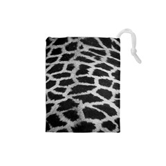Black And White Giraffe Skin Pattern Drawstring Pouches (small)