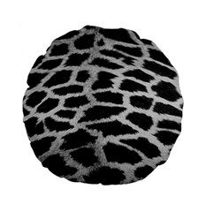 Black And White Giraffe Skin Pattern Standard 15  Premium Flano Round Cushions