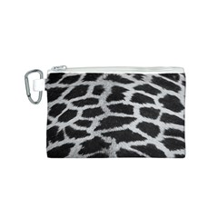Black And White Giraffe Skin Pattern Canvas Cosmetic Bag (S)