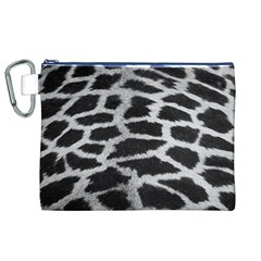Black And White Giraffe Skin Pattern Canvas Cosmetic Bag (xl)