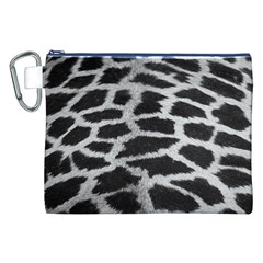 Black And White Giraffe Skin Pattern Canvas Cosmetic Bag (XXL)