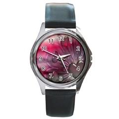 Love Hearth Background Wallpaper Round Metal Watch