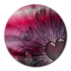 Love Hearth Background Wallpaper Round Mousepads