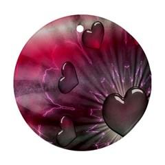 Love Hearth Background Wallpaper Ornament (Round)