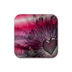 Love Hearth Background Wallpaper Rubber Coaster (square)