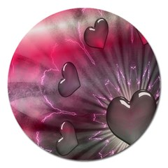 Love Hearth Background Wallpaper Magnet 5  (round)