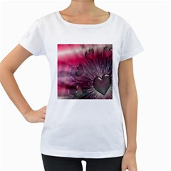 Love Hearth Background Wallpaper Women s Loose-Fit T-Shirt (White)