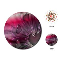 Love Hearth Background Wallpaper Playing Cards (Round)