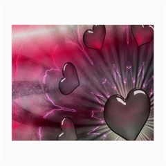 Love Hearth Background Wallpaper Small Glasses Cloth (2 Side)