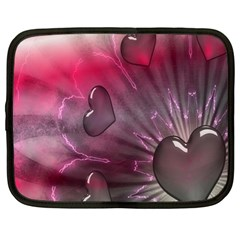 Love Hearth Background Wallpaper Netbook Case (Large)