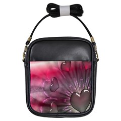 Love Hearth Background Wallpaper Girls Sling Bags