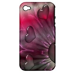 Love Hearth Background Wallpaper Apple iPhone 4/4S Hardshell Case (PC+Silicone)
