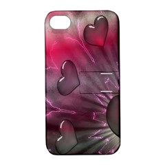Love Hearth Background Wallpaper Apple iPhone 4/4S Hardshell Case with Stand