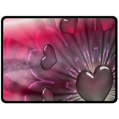 Love Hearth Background Wallpaper Double Sided Fleece Blanket (Large)