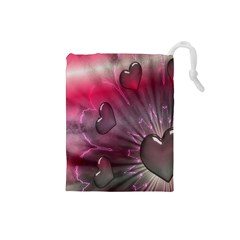 Love Hearth Background Wallpaper Drawstring Pouches (small)
