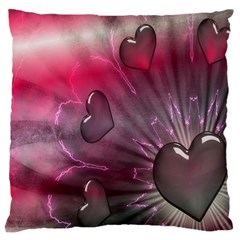 Love Hearth Background Wallpaper Large Flano Cushion Case (two Sides)