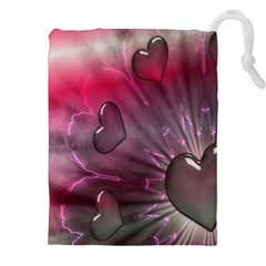 Love Hearth Background Wallpaper Drawstring Pouches (XXL)