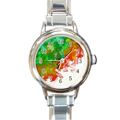 Digitally Painted Messy Paint Background Textur Round Italian Charm Watch