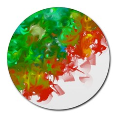 Digitally Painted Messy Paint Background Textur Round Mousepads