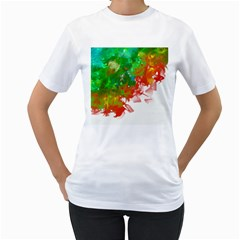 Digitally Painted Messy Paint Background Textur Women s T-Shirt (White) (Two Sided)