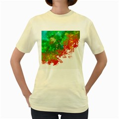 Digitally Painted Messy Paint Background Textur Women s Yellow T-Shirt