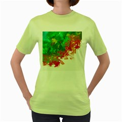 Digitally Painted Messy Paint Background Textur Women s Green T-Shirt
