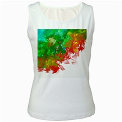Digitally Painted Messy Paint Background Textur Women s White Tank Top