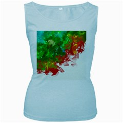 Digitally Painted Messy Paint Background Textur Women s Baby Blue Tank Top