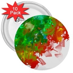 Digitally Painted Messy Paint Background Textur 3  Buttons (10 pack)
