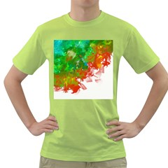 Digitally Painted Messy Paint Background Textur Green T-Shirt