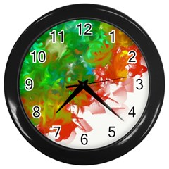 Digitally Painted Messy Paint Background Textur Wall Clocks (black)
