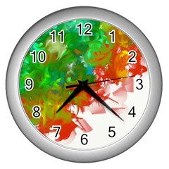 Digitally Painted Messy Paint Background Textur Wall Clocks (Silver)