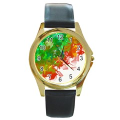 Digitally Painted Messy Paint Background Textur Round Gold Metal Watch