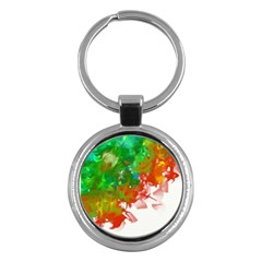 Digitally Painted Messy Paint Background Textur Key Chains (Round)