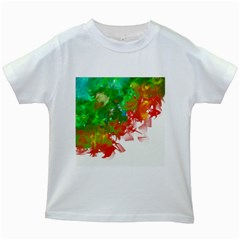 Digitally Painted Messy Paint Background Textur Kids White T-Shirts
