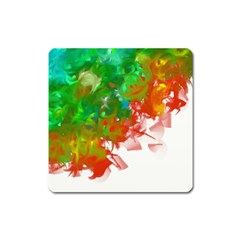 Digitally Painted Messy Paint Background Textur Square Magnet