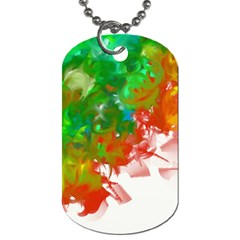 Digitally Painted Messy Paint Background Textur Dog Tag (One Side)