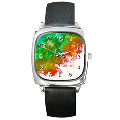 Digitally Painted Messy Paint Background Textur Square Metal Watch
