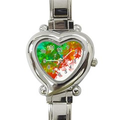 Digitally Painted Messy Paint Background Textur Heart Italian Charm Watch