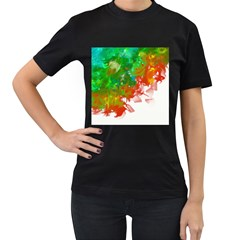Digitally Painted Messy Paint Background Textur Women s T-Shirt (Black) (Two Sided)