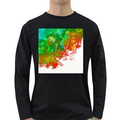 Digitally Painted Messy Paint Background Textur Long Sleeve Dark T Shirts