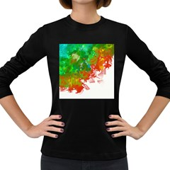 Digitally Painted Messy Paint Background Textur Women s Long Sleeve Dark T-Shirts