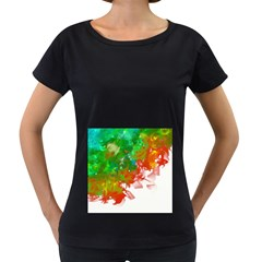 Digitally Painted Messy Paint Background Textur Women s Loose Fit T Shirt (black)