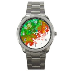 Digitally Painted Messy Paint Background Textur Sport Metal Watch